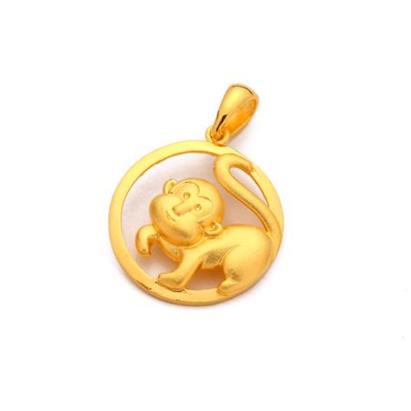 千足黄金动物吊坠—招财生肖猴