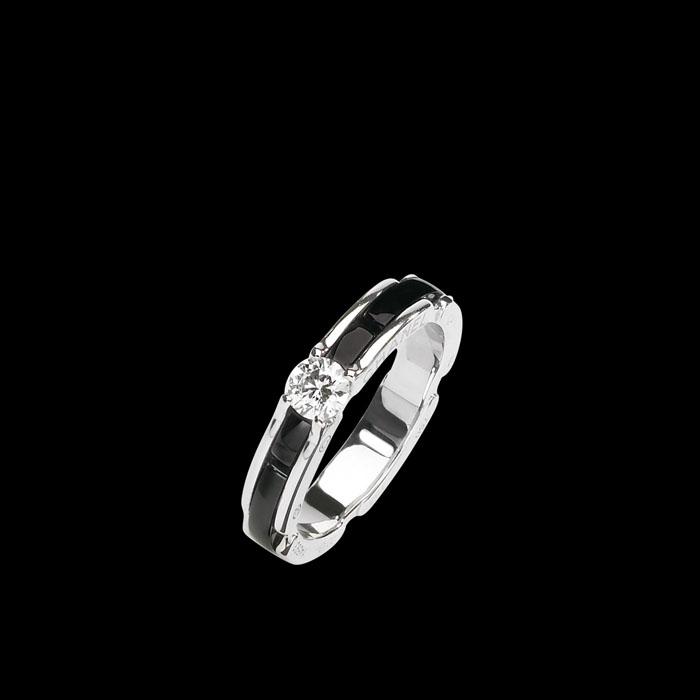 2g             ultra系列白18k金戒指,镶嵌黑色陶瓷和钻石