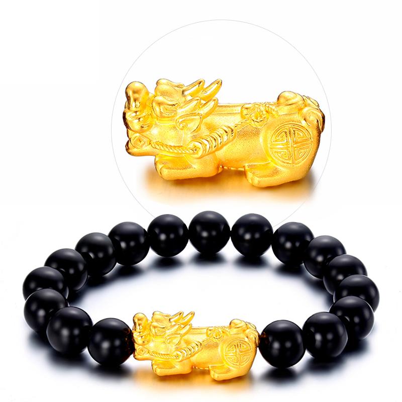 3d硬金黄金貔貅手链转运珠