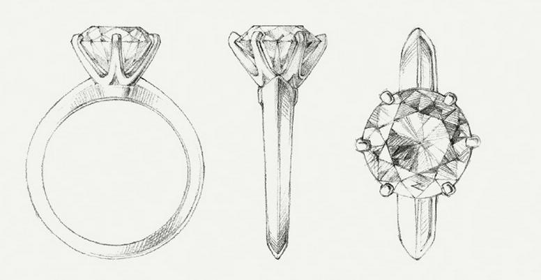 婚戒设计图手稿素描展示图片