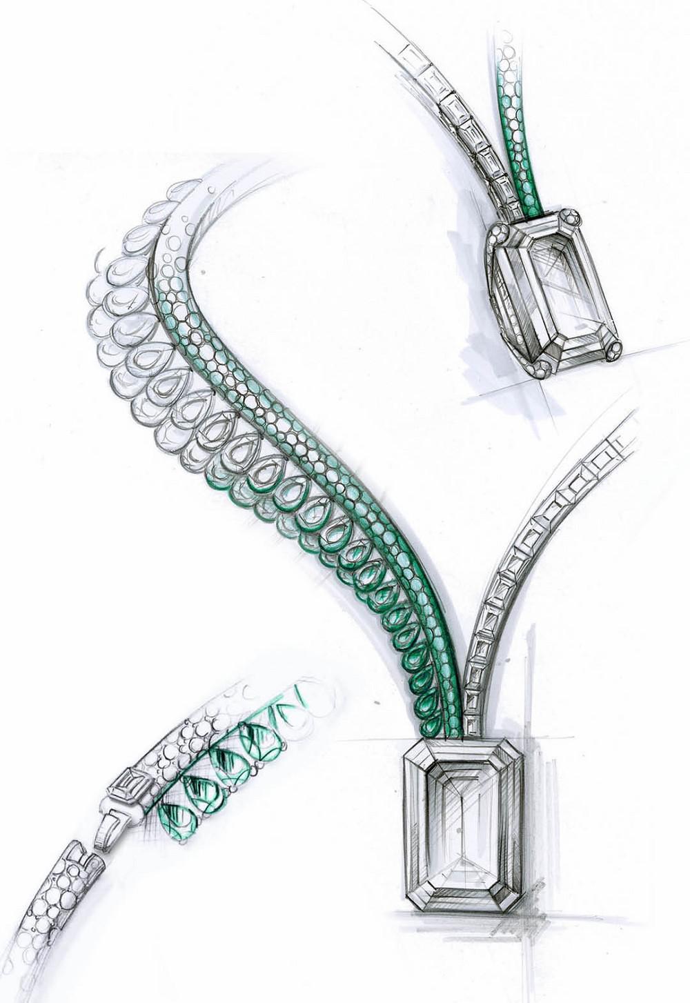 钻石项链手绘效果图